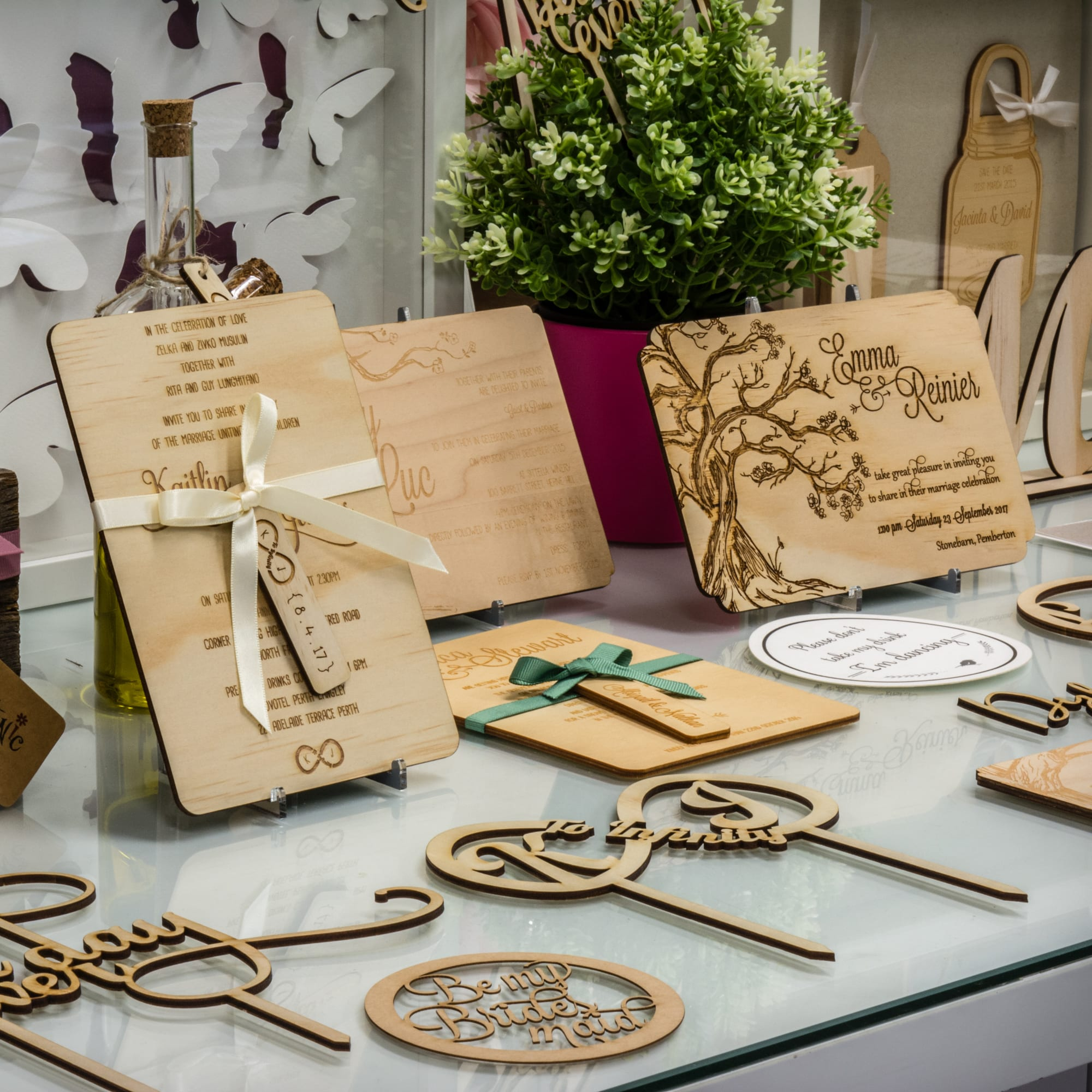 wooden invitations and stationery