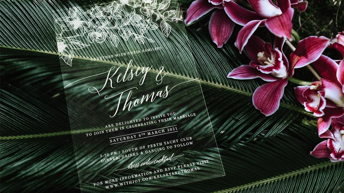 clear acrilyc wedding invitations